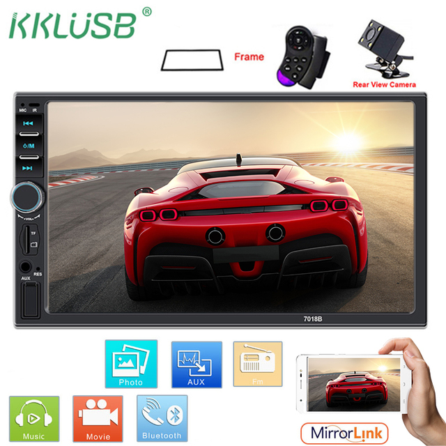 autoradio 2 din car radio coche 7018b Touch Screen car audio bluetooth usb rear view camera mp5 multimidio player mirror link TF