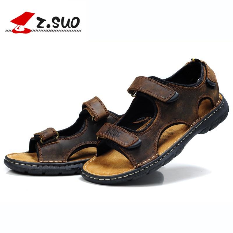 Men Cuero Hombres piatti Sandali gomma per scarpe suole sandali spiaggia in tempo da Sandalia libero Suo Los impermeabili il Summer Brown Z EqRFxwU4n