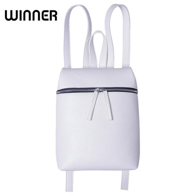 Победитель Марка Простой конструктор небольшой рюкзак Для женщин белый и черный дорожная из искусственной кожи Рюкзаки женские backbag Bagpack