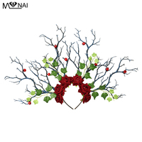 Long Antlers Tree Branches Horns Hair Headband Cosplay Party Fancy Dress Roses Leaves Berry Fruit Headpiece Handmade Gothic
