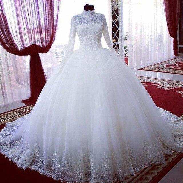 a37e5649ba2 Langarm Muslimischen Dubai Arabisch Spitze Hochzeit Kleid Prinzessin Braut  Ballkleider brautkleider dubai vestido noiva longo
