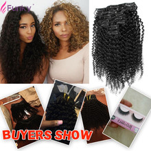 African American Clip In Human Hair Extensions Afro Kinky Curly 7 Piece/Set Full head Set 12-24 Inch 70G 100G 120G 140 Available