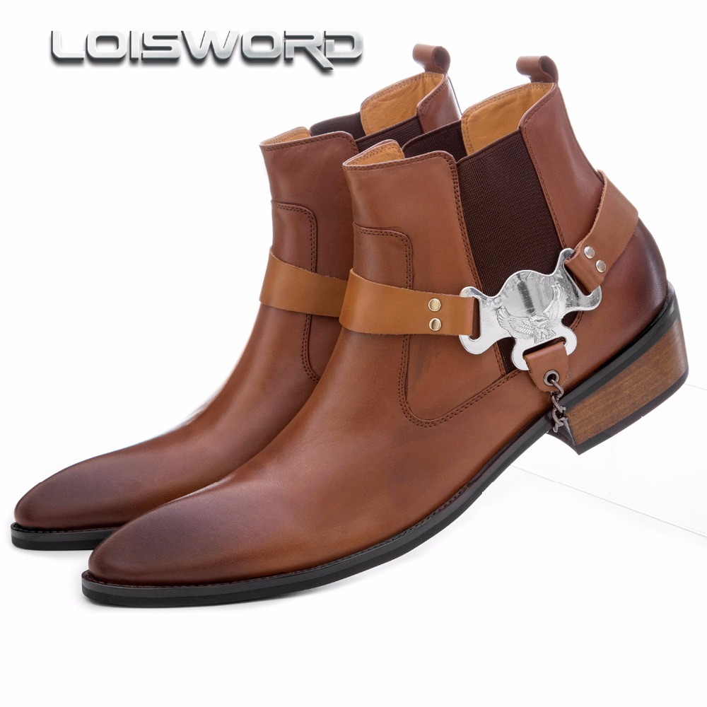 Large size EUR45 fashion brown tan/ black pointed toe mens ankle boots casual shoes genuine leather motorcycle boots with buckle