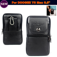 Genuine Leather Zipper Pouch Belt Clip Waist Purse Case Cover For DOOGEE Y6 Max 6 5