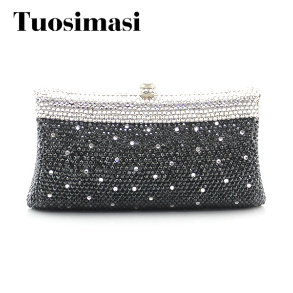 Black Luxury Crystal Evening Clutch Bag Elegant Women Clutch Handbag Lady Wedding Purse Party Rhinestones Small Wallet 2017 new luxury crystal evening clutch bag embroidery women clutch handbag lady wedding purse party hand bag ladies gifts coffee