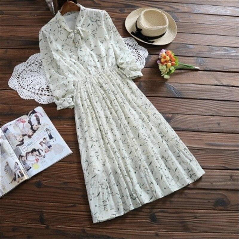 Floral Printed Fashion Dress Women 2018 New Spring Long Sleeve A-line Dress Female Slim Loose Pleated Casual Chiffon Dress C213