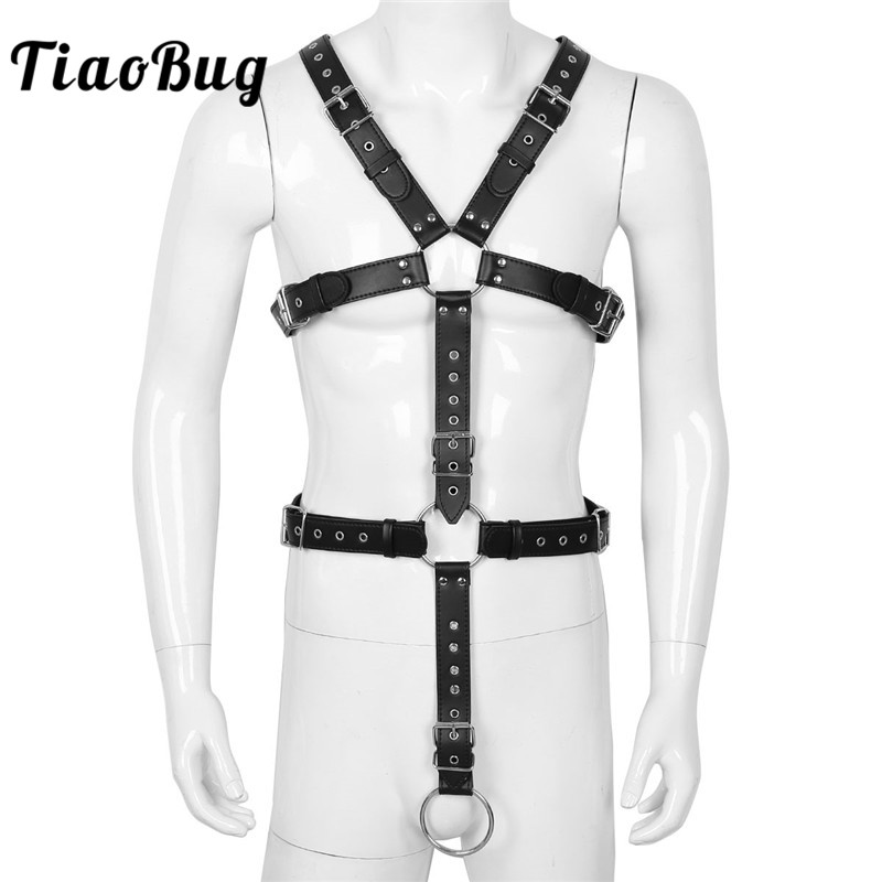 TiaoBug PU Leather Mens Exotic Body Chest Harness Male Sexy BDSM Bondage Gothic Strap With Metal Rings Men Lingerie Bondage Belt