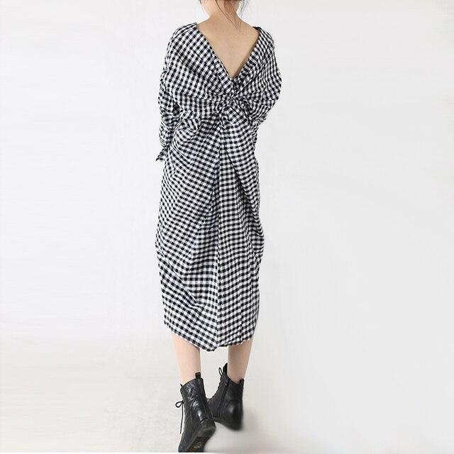 2016 Autumn Winter New Korean Style Long Dress Back Hollow Bow Design Personality Split Dress Women Casual Clothing Dress