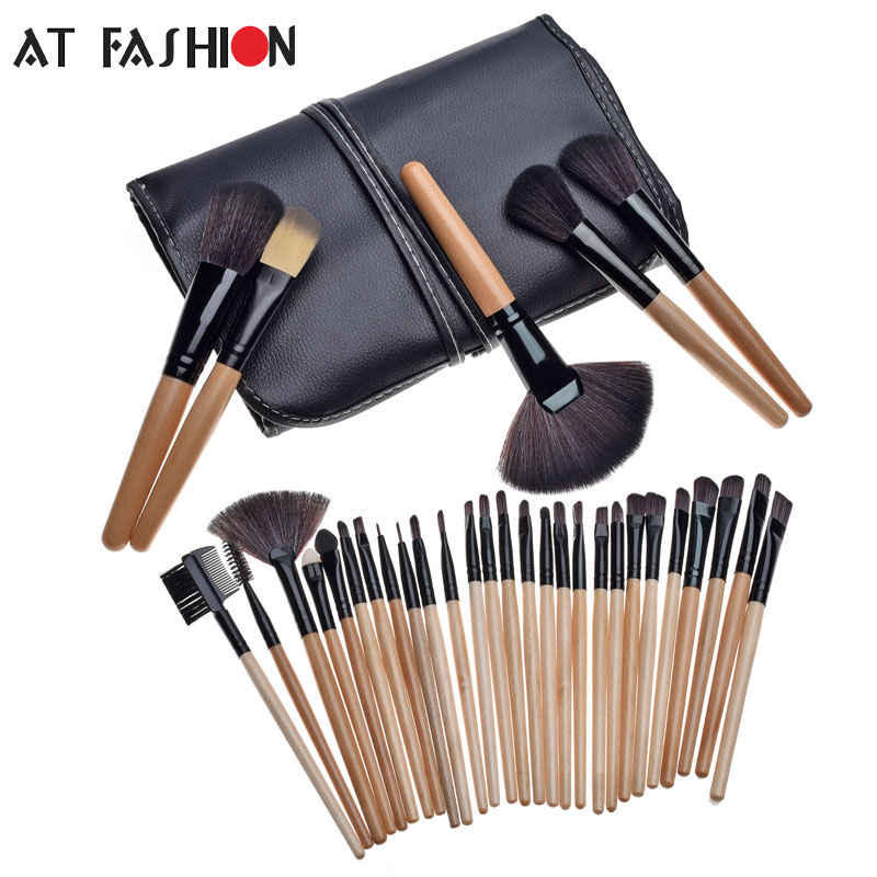 High Quality Professional makeup brush set 32pcs Cosmetic Facial Make up Brush Kit Make up Brushes Tools Set + Black Pouch Bag high quality 7 makeup brush set kit in sleek berry red leather bag make up portable brushes free shipping