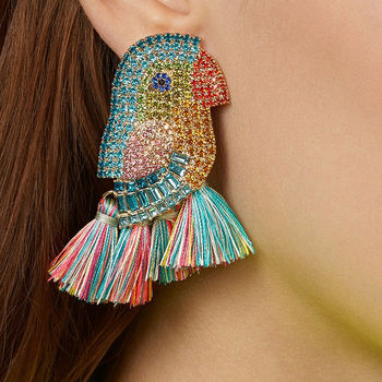 JUJA new design good quality fashion women statement full crystal parrot bird drop earrings