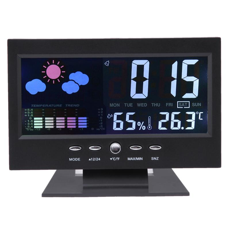 Large Size Home Weather Station Colorful LCD Display Digital Temperature Instruments Indoor Thermometer Hygrometer