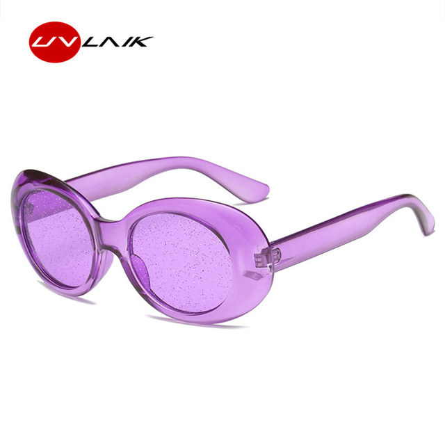 d81ced10086c UVLAIK Vintage Glitter Oversized Sunglasses Women 2018 Clear Frame Retro  Clout Goggles Glasses Men Oval Kurt
