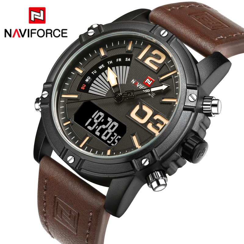 NAVIFORCE Luxury Brand Men's Fashion Sport Watches Men Quartz LED Clock Man Leather Military Waterproof Watch Relogio Masculino weide popular brand new fashion digital led watch men waterproof sport watches man white dial stainless steel relogio masculino