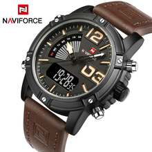 NAVIFORCE Luxury Brand Men's Fashion Sport Watches Men Quartz LED Clock Man Leather Military Waterproof Watch Relogio Masculino