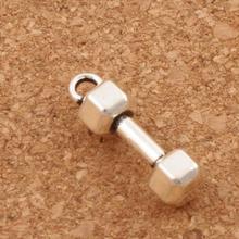 3D Dumbbell Fitness Rockmen Zinc Alloy Kettlebell Charm Beads 18pcs Antique Silver Pendant L1718 20.6x6.5mm