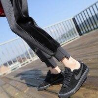 Winter Women Fleece Pants Sweatpants Women S Casual Stretch Feet Thick Velvet Warm Solid Trousers Female
