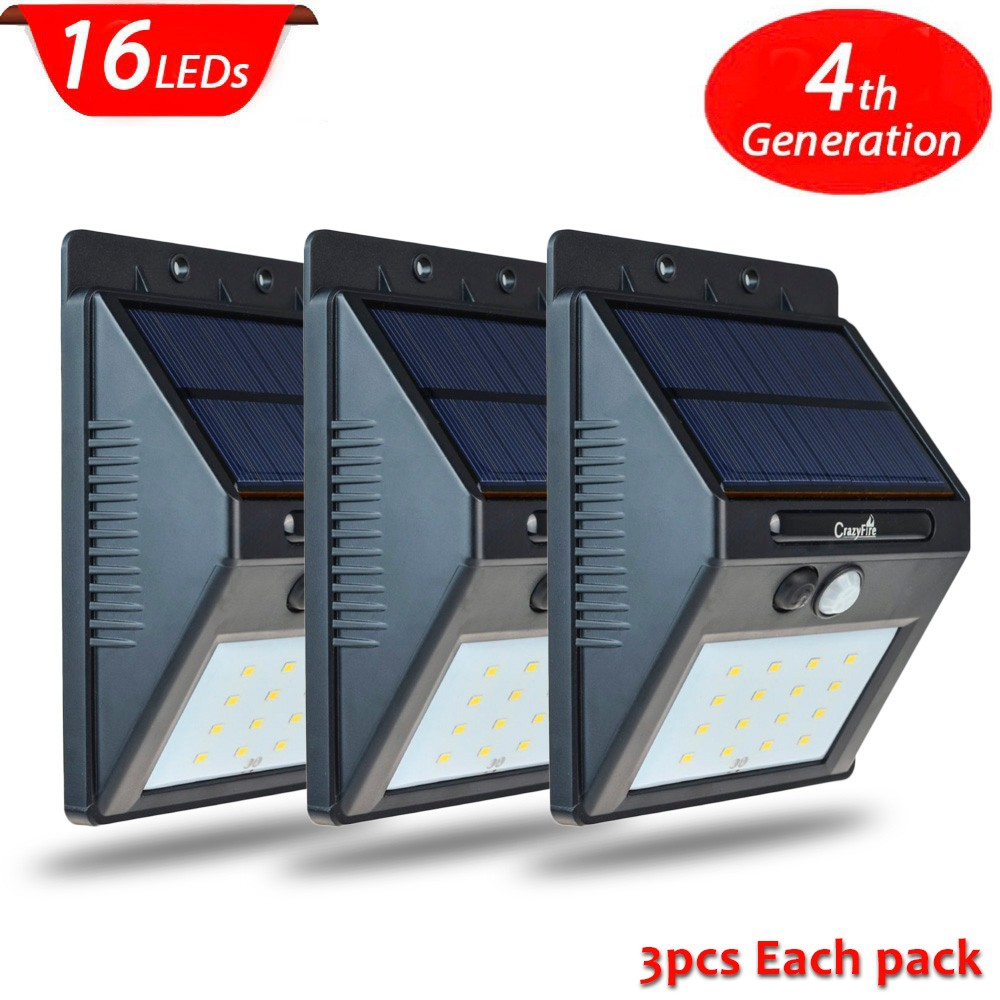 3PCS High Quality 16 Led Solar Powered Light Outdoor Waterproof Solar Lamp with Motion Sensor Street Wall Emergency Lamp