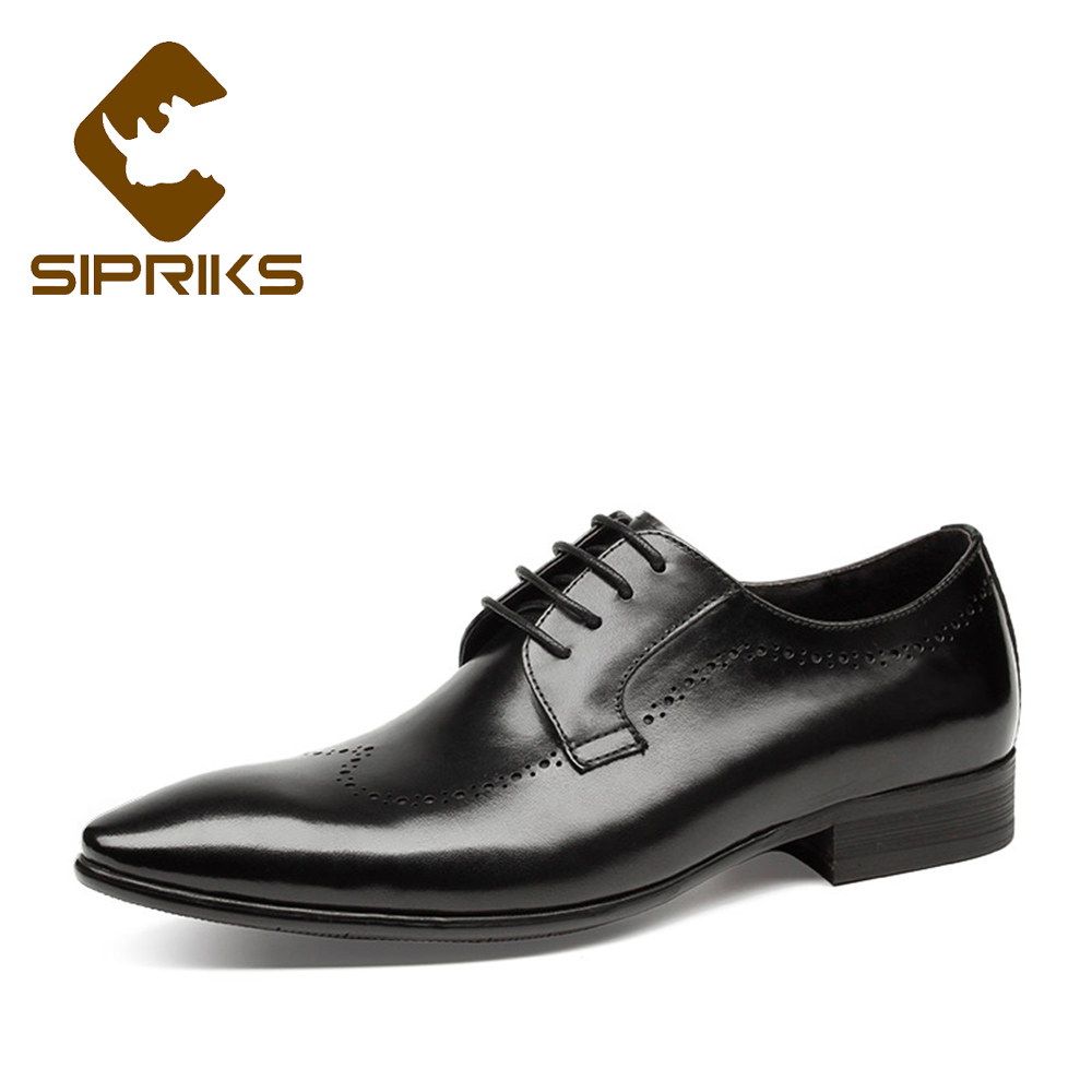 Sipriks Pointed Toe Derby Shoes For Men Cow Leather Black Dress Shoes Boss Men Business Office Work Formal Tuxedo Shoes Carved new 2018 fashion men dress shoes black cow leather pointed toe male oxfords business shoes lace up men formal shoes yj b0034