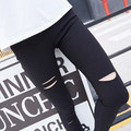 Black hole legging female thin ankle length trousers spring and summer elastic tight fitting skinny pants pencil pants plus size