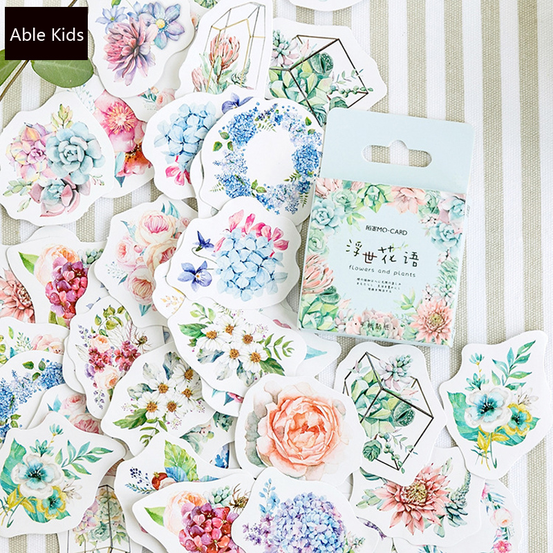 46pcs/ Box Flowers And Plants Decorative Adhesive Stickers Scrapbooking DIY Diary Album Stick Label Decor