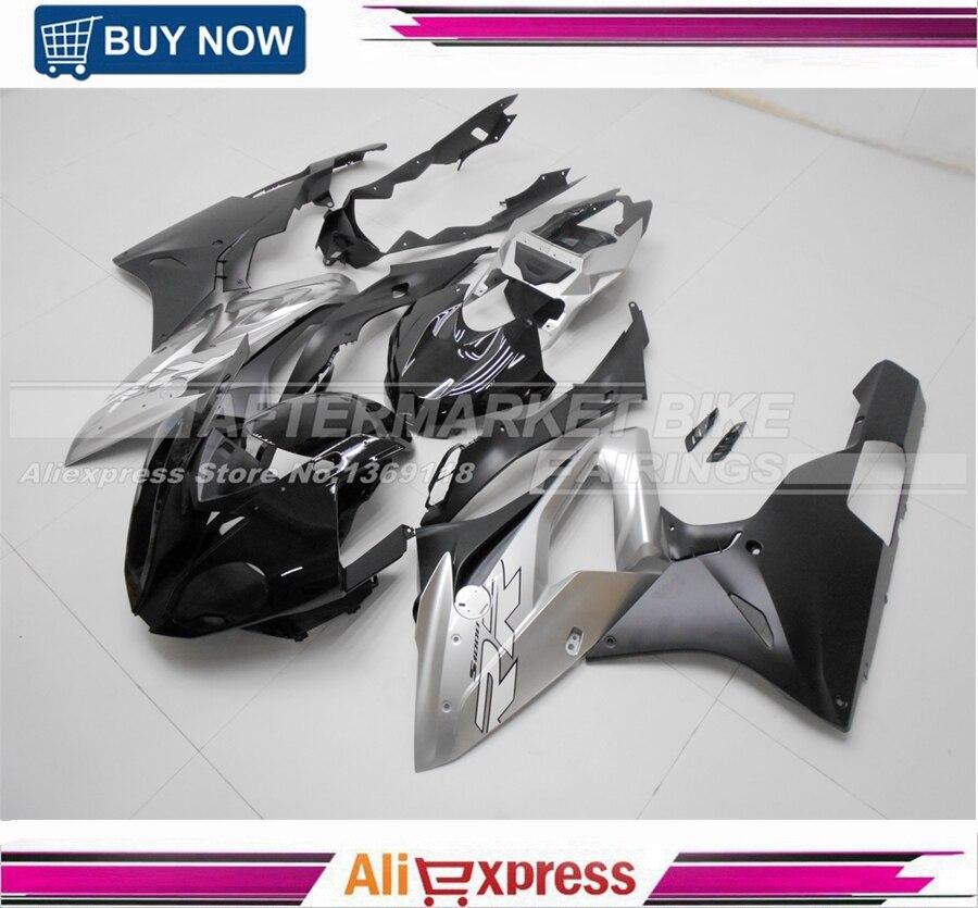Brillant Noir & Mat Argent Vierge ABS En Plastique S1000RR 2015 2016 Carénage Carrosserie Pour S1000RR 15 16 Moto Carénages Kits