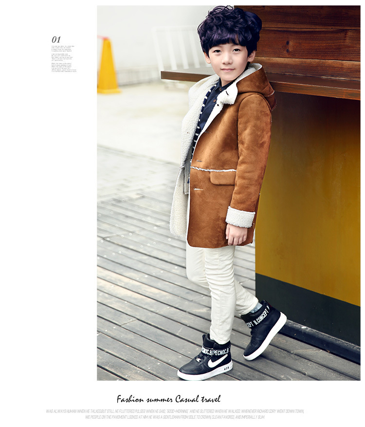 цена на Children's clothing boy cotton-padded clothes in winter Han edition add wool coat long coat in children