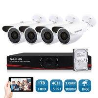 SUNCHAN HD 720P 1Mega CCTV System 4CH 1080P HDMI Output Put DVR Kit 4 Outdoor Night