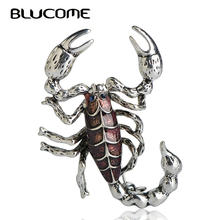 Blucome Exaggeration Purple Scorpion Brooches For Women Suit Clothes Jewelry Enamel Insect Centipede Brooch Hijab Pins Bijoux(China)