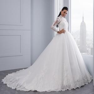 Image 3 - Miaoduo Vestido De Noiva 플러스 크기 높은 목 IIIusion 다시 긴 소매 웨딩 드레스 2020 공 가운 웨딩 드레스 여성을위한