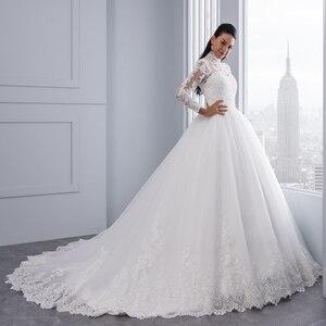 Image 3 - Miaoduo Vestido De Noiva Plus Size Hoge Hals Iiiusion Back Lange Mouwen Bruidsjurken 2020 Baljurk Trouwjurken Voor vrouwen