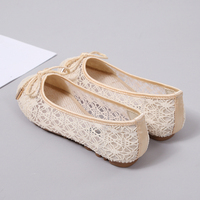 Shallow Shoes Woman Round Head Lace Bowknot Ventilation Flats Boots Women Fashion Comfortable Ladies Shoes