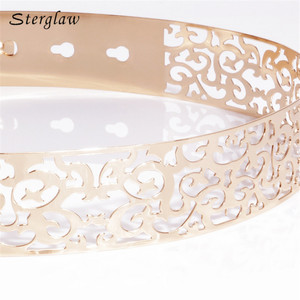 Image 4 - Hot fashion Hollow Metal strap for women Modeling belt 2020 New 3.5cm Golden waist womens belt Girdle for dresses cinturone J013