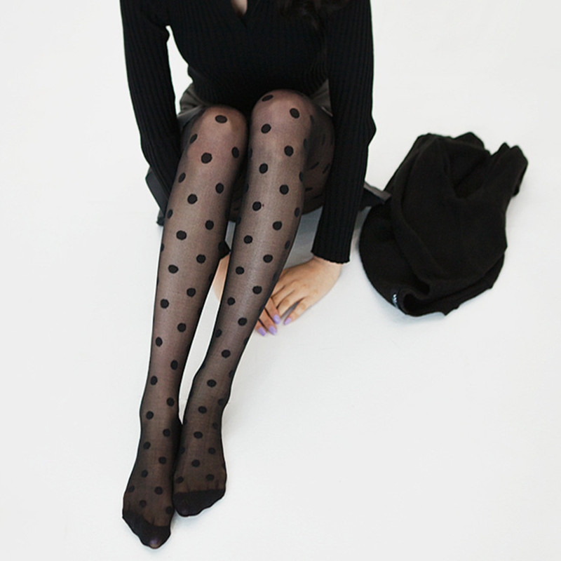 Elastic Big Black Dots Pantyhose Women Tights Entirely Seamless Sexy Silk Stockings Tights Female collant ultra thin pantyhose