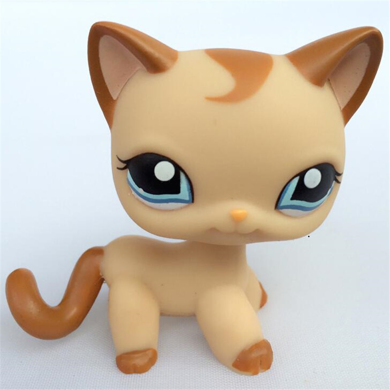 pet shop toys Origina Short Hair Brown Curl Mocha Tan Standing kitty animal pet shop free shipping pet great dane pet toys rare old styles dog lovely animal pets toys lot free shipping