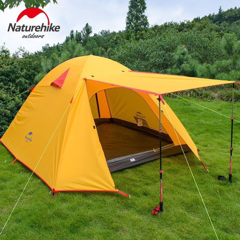 NatureHike 3-4 человек кемпинговая палатка двухслойная Алюминиевая штанга 3 сезона на открытом воздухе Туризм путешествия игры непромокаемый тен...