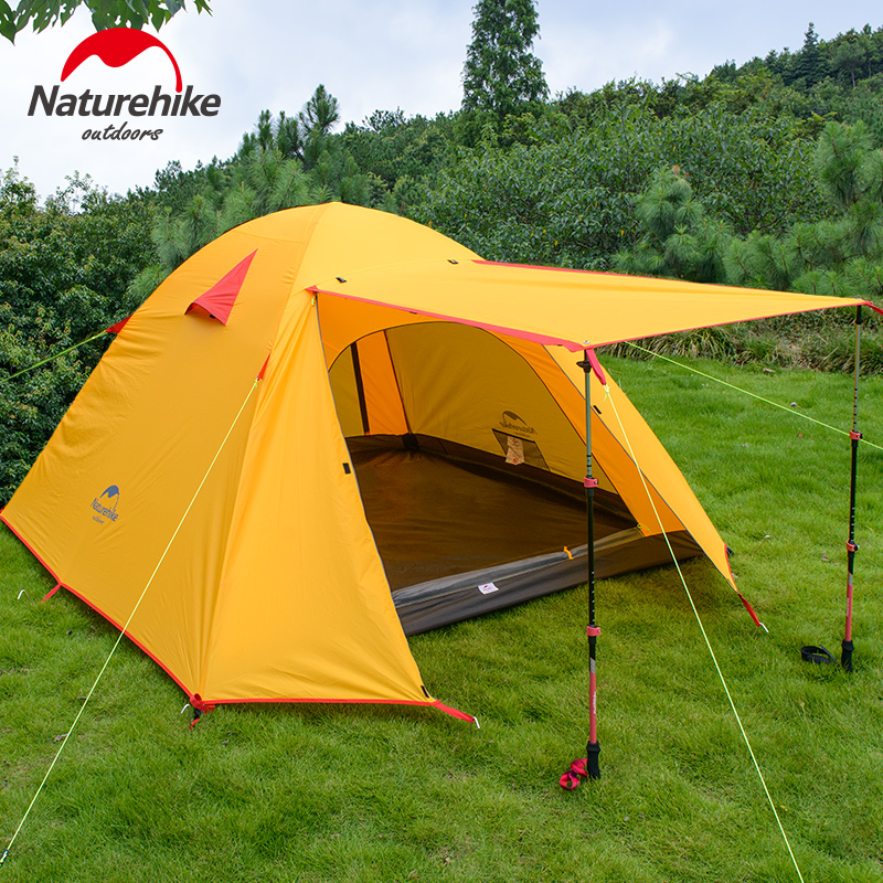 NatureHike 3-4 Person Camping Tent Double Layers Aluminium Rod 3 Season Outdoor Hiking Travel Play Tent Rainproof