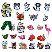 Puppy kitten Bird Lovely Animal Embroidered Patches Iron On For Clothing DIY Stripes Applique Child Clothes Stickers Badges(China)