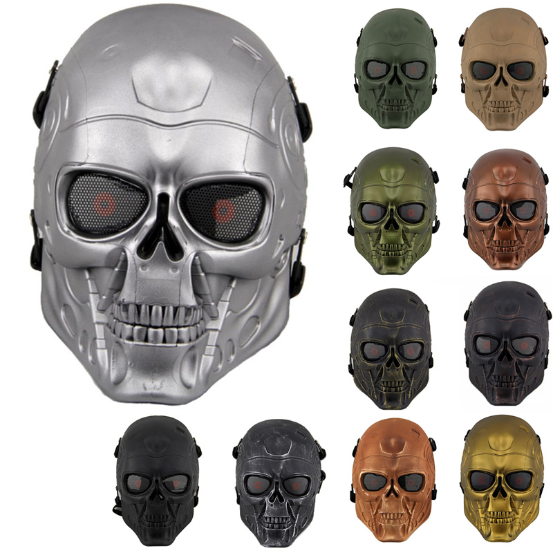 DC10 Terminator T800 Airsoft Tactical Full Face Metal Mesh Protective Mask Military Outdoor Wargame Paintball Combat Skull Mask