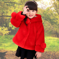 Children Girls Winter Fur Coat New 2016 Fashion Design Hooded Thick Fake Fur Baby Jacket Solid