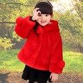 Crianças Meninas Inverno Casaco De Pele Novo 2016 Design de Moda Com Capuz espessa Pele Falsa Sólida Jaqueta Casual Quente Roupa Dos Miúdos Do Bebê Outwears
