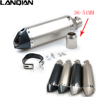 Motorcycle Exhaust Pipe Muffler Inlet 51mm 61mm GP Exhaust Mufflers Carbon Fiber Exhaust Pipe With Sticker