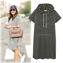 2019 new summer womens short-sleeved black and white zebra striped dress work office hooded size XL-5XL