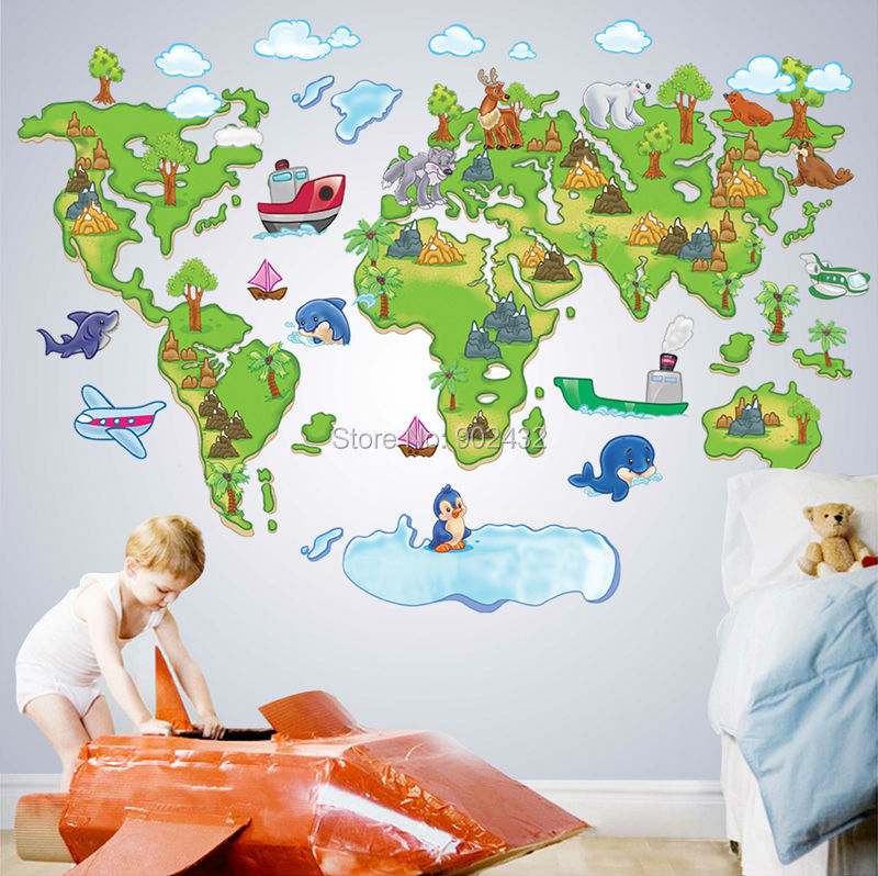 Free shipping cartoon world map wall sticker decals for for Wall map for kids room