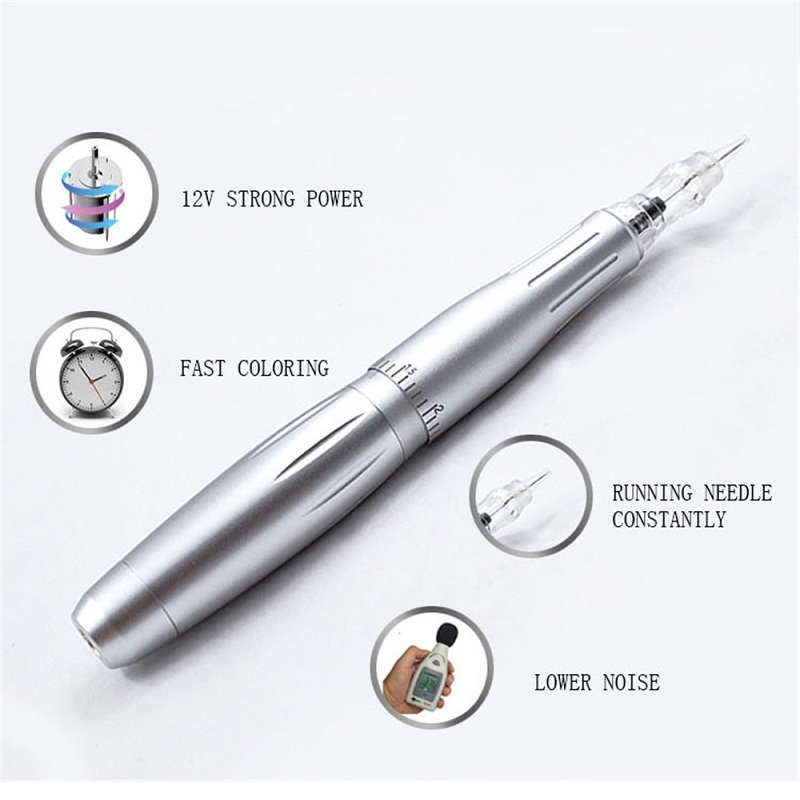 LW002 Tattoo Permanent Makeup Machine Pen Eyebrow Carving Rotary Tattoo Pen Kit with 1rl Cartridges Needles 12V Strong PowerLW002 Tattoo Permanent Makeup Machine Pen Eyebrow Carving Rotary Tattoo Pen Kit with 1rl Cartridges Needles 12V Strong Power