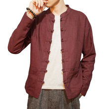 Chinese Style Solid Linen Jacket Men Stand Collar Long Sleeve Brand Bomber Jackets 2017 Summer Single-Breasted Casual Coats Tops