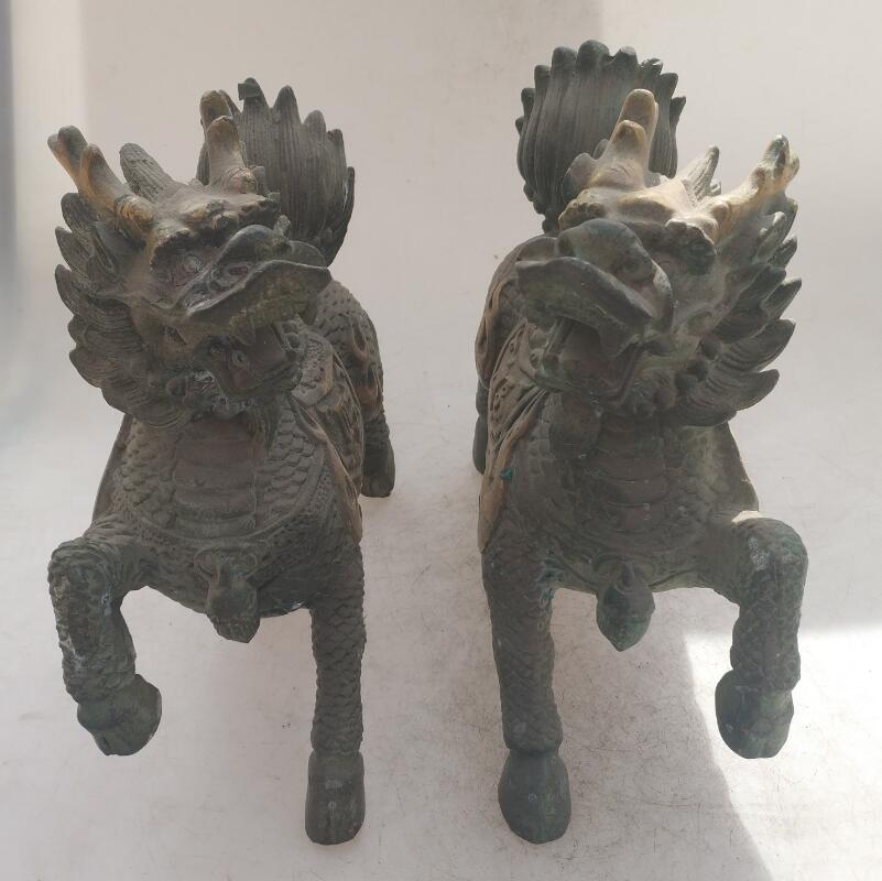 Collection chinese Handmade old bronze Gilt Kirin  statue, Home Decoration antique sculptureCollection chinese Handmade old bronze Gilt Kirin  statue, Home Decoration antique sculpture