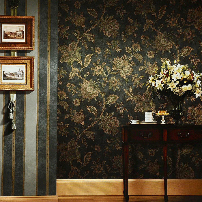 купить NEW Luxury Retro Wallpaper Vintage American Style Floral Wall Paper Dark Color Rustic Flower Country for Living Room по цене 4024.02 рублей