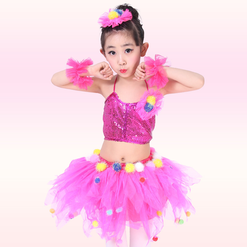 Free Shipping Sequin Kids Girls Ballroom Dance Dresses Stage Performance Competition Children Belly Dancing Clothes Costumes