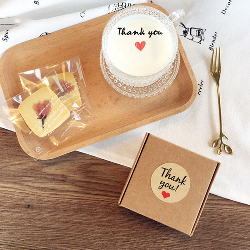10pcs Thank You Kraft Paper Gift Tags DIY Seal Paste Stickers Wedding Favors Label Party Supplies Vintage Wedding Decoration