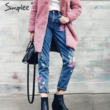 Simplee Flower embroidery jeans female High waist birds zipper straight denim pants jeans Women 2017 pocket blue trousers jeans